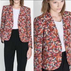 Zara Woman Floral Multicolored Blazor Size M